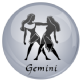 Gemini Astrology Grey 25mm Keyring